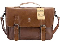 Vintage Faux Leather 14″ Briefcases.Berchirly Laptop Shoulder Bags Professional Messenger  ...