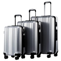 Coolife Luggage Expandable Suitcase 3 Piece Set with TSA Lock Spinner 20in24in28in (sliver4)
