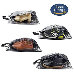 Shoe Bags for Travel,LOVK 4 PCS X-Large Travel Accessories Shoe Bags Transparent Waterproof Nylo ...