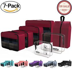 Packing Cubes YAMIU Travel Luggage Organizer Bags Travel Accessories Including 2-pack Waterproof ...