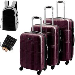 Travel Joy CROSSLAND 3 Piece Luggage Set, Glossy Scratch-resistant Surface, with One Gift Backpa ...