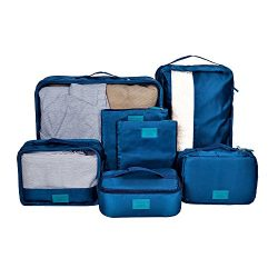 DOKEHOM Thickened 7 Set Packing Cubes Travel Organizers (Dark Blue)