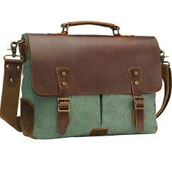 WOWBOX Messenger Bag for Men 15.6 inch Vintage Leather and Canvas Men's Satchel Shoulder B ...