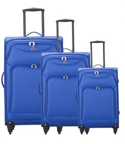 InUSA Luggage Light-Fi ultra-light spinner 3 Piece Set, 20″/24″/28″,Blue