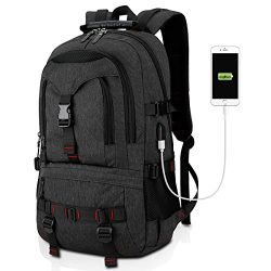 Tocode Water Resistant Laptop Backpack with USB Charging Port Fits up to 17-Inch Laptop Black II