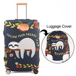 Madifennina Spandex Travel Luggage Protector Suitcase Cover Fit 23-32 Inch Luggage (sloth, M)