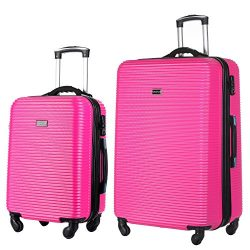 2 PC Luggage Set Durable Lightweight Hard Case Spinner Suitecase 20in29in LUG2 LY06SCALE HOT PINK