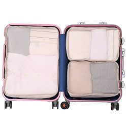 JJ POWER Travel Packing Cubes, Luggage Organizers with Shoe Bag (3 set beige- 1large+2medium)