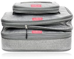 LeanTravel Compression Packing Cubes Luggage Organizers for Travel W/Double Zipper (3) Set (Grey)