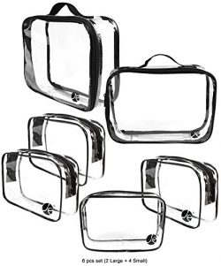 JAVOedge (6 PCS SET: 2 qty x Large Size, 4 qty x Small Size) Clear PVC Cosmetic Makeup Organizer ...