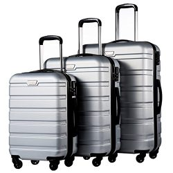 Coolife Luggage 3 Piece Set Suitcase Spinner Hardshell Lightweight (sliver3)