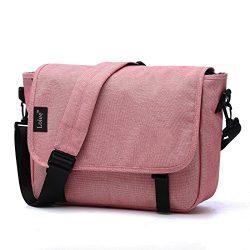 Loiee Vintage Canvas Messenger Bag,Casual Shoulder Bag,Waterproof School Bag,Pink