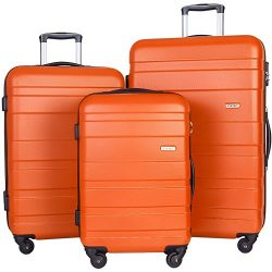 Merax Aphro 3 Piece Luggage Set Lightweight ABS Spinner Suitcase (Orange)