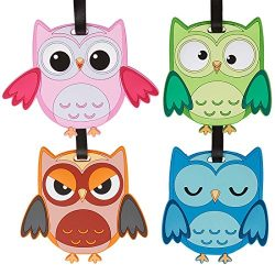 Bundle Monster 4pc Fun Mixed Owl Design Silicone Luggage ID Bag Tags – Set 5: What a Hoot!
