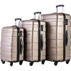 Merax MT Imagine Luggage Set 3 Piece Spinner Suitcase 20 24 28inch (Gold)