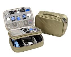 Electronics Organizer Travel Bag Accessories Cable Cord Storage Cases Fit iPad mini (Gold)