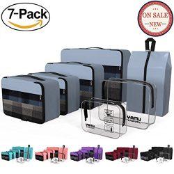 YAMIU Packing Cubes Travel Organizer with Shoe Bag & 2 Toiletry Bags (7-Pcs) (Grey)