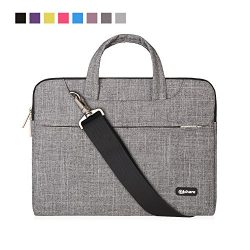 Qishare 13 13.3″ Gray Lines Multi-functional Business Briefcase Sleeve/Messenger Bag/Shoul ...