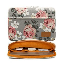 Canvaslife Gray roses pattern 360 degree protective 14 inch Waterproof laptop sleeve case bag wi ...