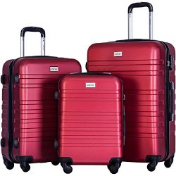 Merax Luggages 3 Piece Luggage Set Lightweight Spinner Suitcase (Red)