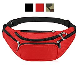 Fanny Pack 5-Zipper Pockets Waist Bag Belt Nylon Multifunctional For Women Men Water Proof Waist ...