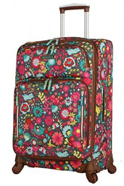 Lily Bloom Luggage 24″ Expandable Design Pattern Suitcase With Spinner Wheels For Woman (2 ...
