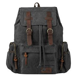 P.KU.VDSL Vintage Canvas Backpack, Genuine Leather Military Rucksack, 17 inch Retro Laptop Backp ...