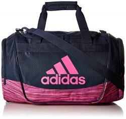 adidas Defender II Small Duffel Bag, Small, Collegiate Navy/Shock Pink Looper