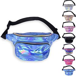 LEADO Holographic Fanny Pack Waterproof Fanny Packs for Women and Men, 80s Waist Pack Fashion Bu ...
