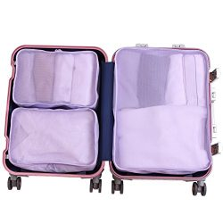 JJ POWER Travel Packing Cubes, Luggage Organizers Clothes Bag 1 Large 2 Medium (3 set lavender)