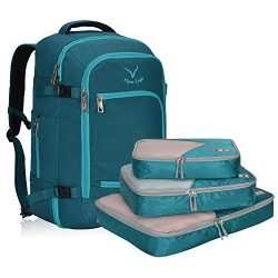 Hynes Eagle Travel Backpack 40L Flight Approved Carry on Backpack, Teal with 3PCS Packing Cubes