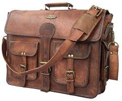 DHK 18 Inch Vintage Handmade Leather Messenger Bag for Laptop Briefcase Best Computer Satchel Sc ...