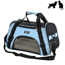 Soft-Sided Pet Carrier, Low Profile Travel Tote with Cozy and Soft Dog Bed, Portable, Collapsibl ...