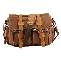 Men's Vintage Canvas and Leather Satchel School Military Shoulder Bag Messenger Large 17&# ...