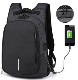 RIONA Laptop Backpack 14.1 Inch Expansion Daypack Coded Lock Anti Theft with USB Port/Water Resi ...