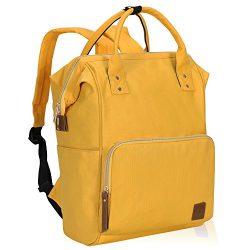 Veegul Wide Open Multipurpose School Backpack Lightweight Travel Bag 18L Calendula Yellow