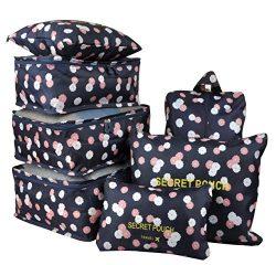 7 Set Travel Packing Organizer,Waterproof Mesh Durable Luggage Travel Cubes,1 Shoe Bag (Navy Flower)