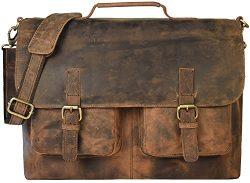 Men's Leather Messenger Bag – Rugged Vintage Laptop Messenger Bag for Men – Ge ...