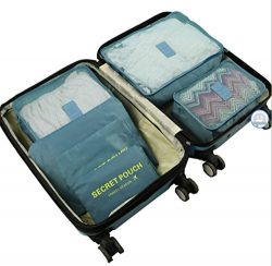 6Pcs Travel Storage Bags Clothes Packing Cubes Luggage Organizer Pouch (Gray Blue)
