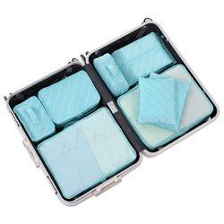 Travel Packing Cubes Set Toiletry Kits Bonus Shoe Bag JJ POWER Luggage Organizers (lattice turqu ...