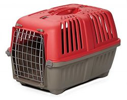 Pet Carrier: Hard-Sided Dog Carrier, Cat Carrier, Small Animal Carrier in Red| Inside Dims 17.91 ...