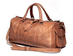 Shakun Leather Handmade Bag Leather Real Travel Duffle Luggage Gym Weekend Holdall
