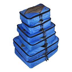 Rusoji Premium Packing Cube Travel Luggage Organizers – 6pc Various Size Set (Blue)
