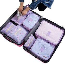 7Pcs Waterproof Travel Storage Bags Clothes Packing Cube Luggage Organizer Pouch(Purple cherry)