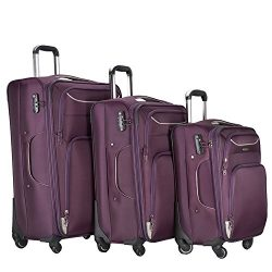 3 PC Luggage Set Durable Lightweight Soft Case Spinner Suitecase LUG3 RS3049 PURPLE