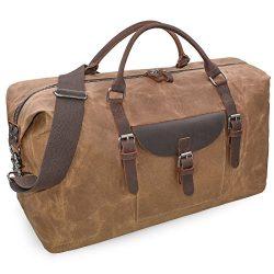 Oversized Travel Duffel Bag Waterproof Canvas Genuine Leather Weekend bag Weekender Overnight Ca ...