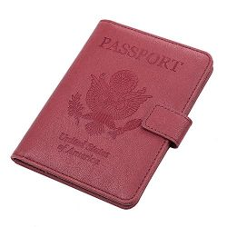 Vivefox Travel Passport Holder Cover, RFID Leather Passport Wallet Id Card Case Organizer (Red,  ...
