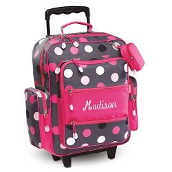 Personalized Kids Grey Multi-Dots Rolling Luggage