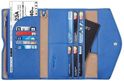 Travelambo Rfid Blocking Passport Holder Wallet & Travel Wallet Envelope (blue)