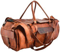 Shakun Leather Handmade Large Leather Duffle Travel Gym Vintage Luggage Weekend Bag